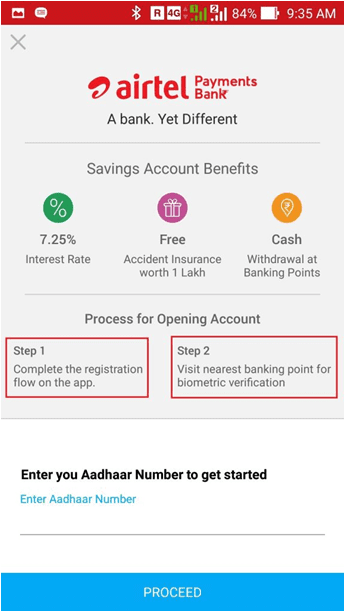 Airtel payments bank registration